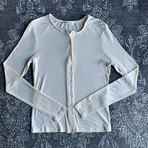 Reformation Roseline Button Front Long Sleeve Top